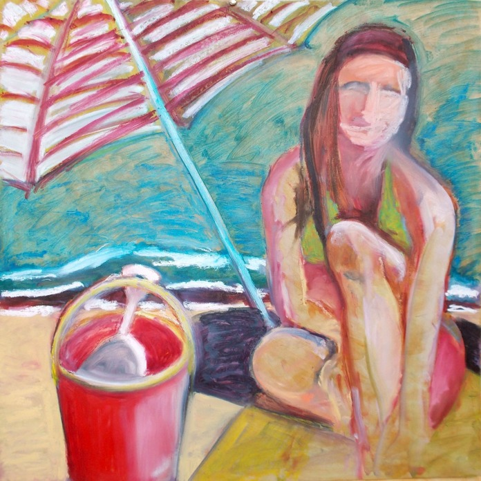 _A2 Beach girl 130814 oilstick
