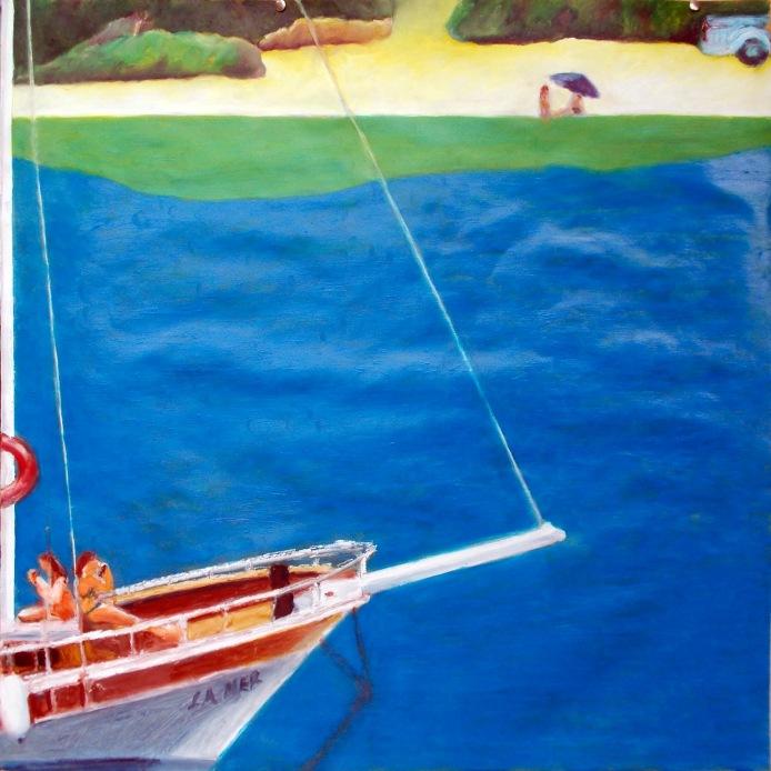 70x70 cm  oil on paper A scene from Gökova Bay in Southeastern Turkey