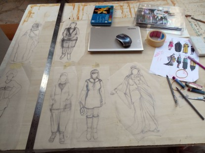 The state of my work table on August 7 - beginning sketches for 'Ottoman Princess'