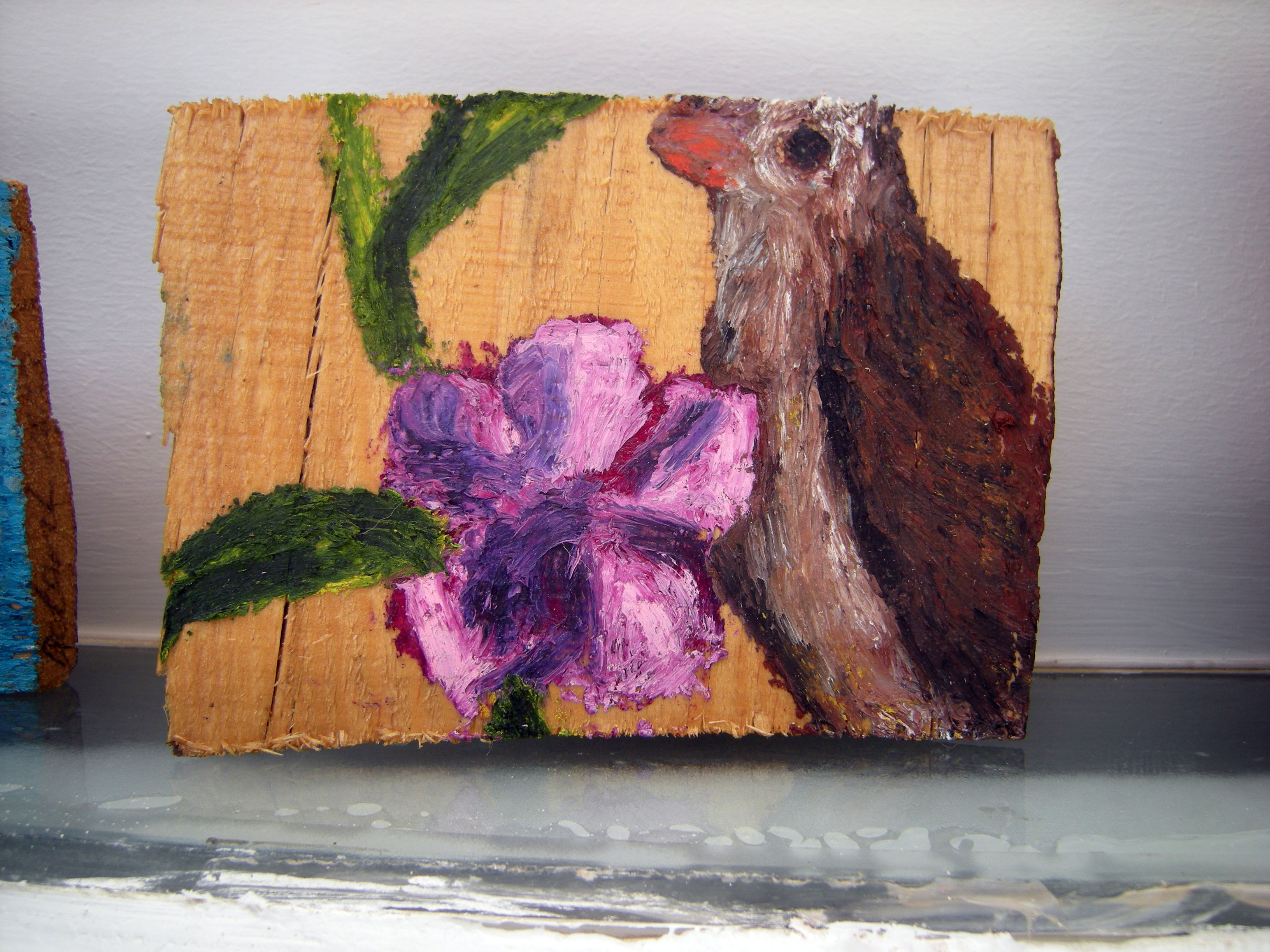 Bird with pink oleander